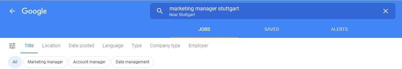 Google for Jobs Suchfunktion und Filter