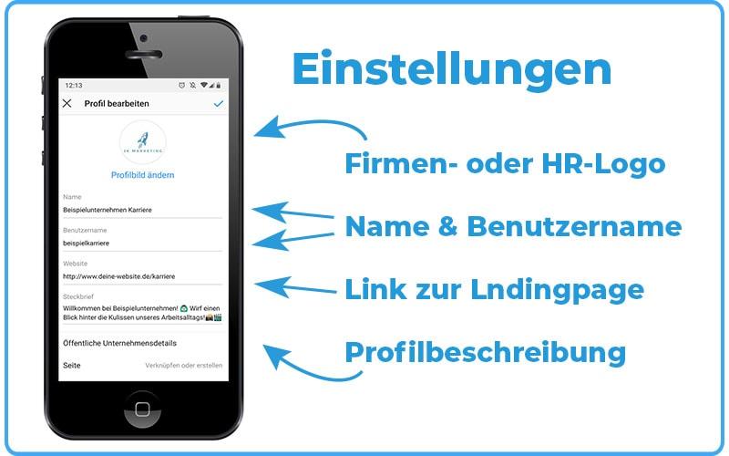 Instagram Recruiting Profileinstellungen JK Marketing