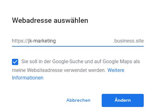 Website mit Google My Business erstellen Domainname JK Marketing