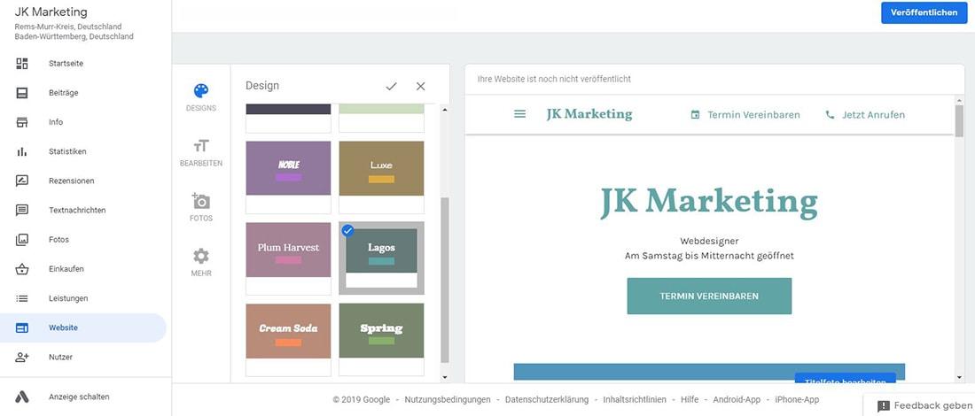 Website mit Google My Business erstellen Screenshot JK Marketing